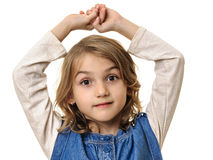 Little girl portrait hands up Royalty Free Stock Photo