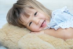 Little girl portrait happy smiling with Teddy bear Stock Photo