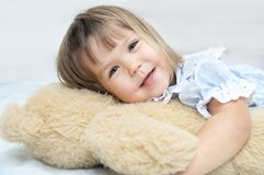 Little girl portrait happy smiling with Teddy bear Stock Photos