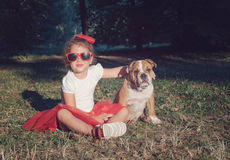 Little girl portrait with her pet Stock Photography