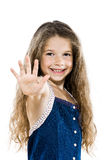 Little girl portrait high-five salute Stock Photography