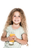 Little girl portrait hold orange juice Stock Photography