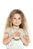 Little girl portrait with milk mustache Royalty Free Stock Photos