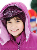 Little girl portrait in snow Stock Photography