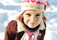 Little girl portrait in snow Stock Images
