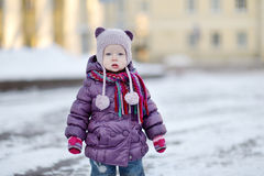 Little girl portrait on winter day in city Royalty Free Stock Photography