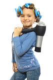 Little girl posing. With hair dryer isolated on white Stock Photos