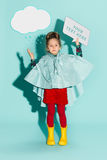 Little girl posing in fashion style wearing autumn clothing. Stock Photos