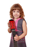 Little girl posing with guitar Royalty Free Stock Image