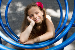 Little girl posing on the playground Royalty Free Stock Photos