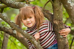 Little girl posing sitting on a tree in the garden Stock Images