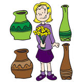 Little girl, pots and flowers Royalty Free Stock Images