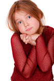 Little girl pout. Young girl pouting isolated on white Stock Photos