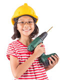 Little Girl And Power Drill I Royalty Free Stock Photos