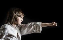 Little girl practicing karate Stock Photo