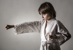Little girl practicing karate Royalty Free Stock Photos