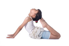 Little girl practicing yoga Stock Image