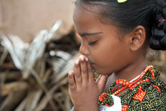 Little Girl Praying. Indian Village Little Girl Praying Stock Images