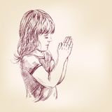 Little girl praying hand drawn vector llustration Stock Photos