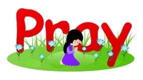 Little girl praying. Vector illustration of a little girl praying Stock Photos