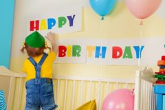 Little girl prepare for birthday party Royalty Free Stock Image