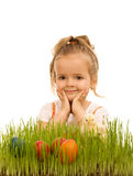 Little girl preparing for easter stock image