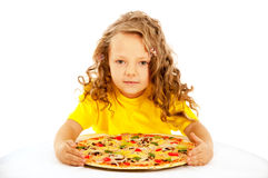 Little girl preparing homemade pizza Stock Image