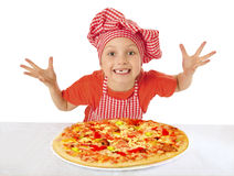 Little girl preparing homemade pizza Stock Photo
