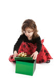 Little girl with present royalty free stock images