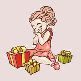 Little girl with presents Royalty Free Stock Photos
