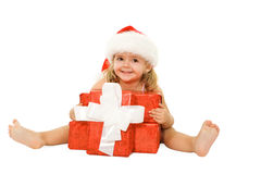 Little girl with presents Stock Image