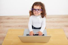 Little girl pretending to be business woman Royalty Free Stock Photography