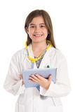 Little girl pretending to be a doctor. On white background Stock Photos
