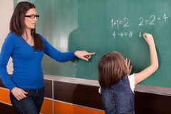Little girl in primary school writing mathematics task on chalkb Royalty Free Stock Photo