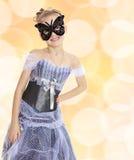 Little girl Princess carnival mask. Royalty Free Stock Photo