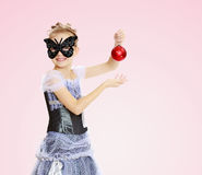 Little girl Princess carnival mask. Stock Images