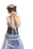 Little girl Princess carnival mask. Royalty Free Stock Photo