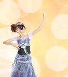Little girl Princess carnival mask. Stock Photos
