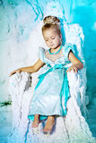 Little girl in princess dress on a background of a winter fairy Stock Images
