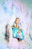 Little girl in princess dress on a background of a winter fairy Stock Photo