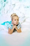 Little girl in princess dress on a background of a winter fairy Royalty Free Stock Photo