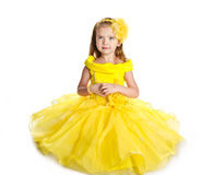 Little girl in  princess dress isolated Royalty Free Stock Photos