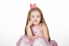 Little girl princess over white background royalty free stock photos