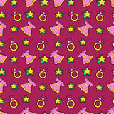 Little Girl Princess Seamless Background with Pink Dress, Stars and Rings Royalty Free Stock Image