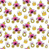 Little Girl Princess Seamless Background with Queen Coach, Crowns and Rings royalty free illustration