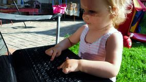 Little girl programmer stock footage