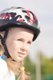 Little girl in protective helmet Royalty Free Stock Images