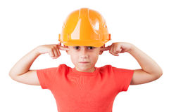 Little girl in a protective helmet. Tucked her ears Royalty Free Stock Images
