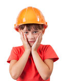 Little girl in a protective helmet. On head Royalty Free Stock Photos