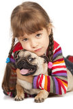 Little girl and the Pug-dog. Isolated on a white background Stock Photo